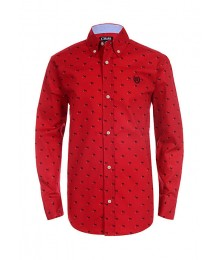 Chaps Red With Black Small Dog Print L/S Shirt