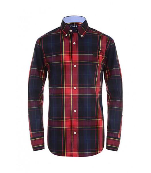 Chaps Black/Red Plaid Multi L/S Shirt