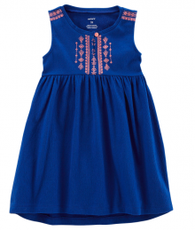 Carters Navy Blue Sleeveless Embroidered A-Line Dress