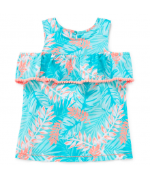Okie Dokie Aqua Green/Pink Cold Shoulder Tank Top