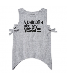 Okie Dokie Grey  A Unicorn Ate My Veggies Tee