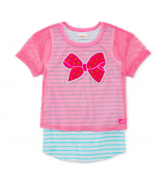 Nickelodeon Pink Net 1/2 Top With Green & White Inner Tee