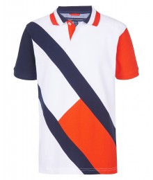 Tommy Hilfiger White With Blue & Red Diagonal Pique Boys Colorblock Polo Shirt