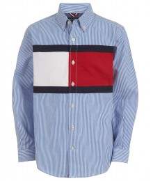 Tommy Hilfiger Blue/White Striped Flag Poplin L/S Shirt  Big Boy