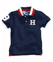 Tommy Hilfiger Navy Cotton Mesh Polo