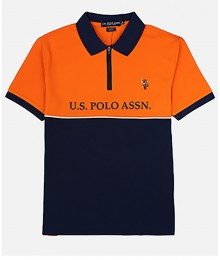Uspa Orange & Blue Color Block Zipper Pique Polo Shirt  Big Boy
