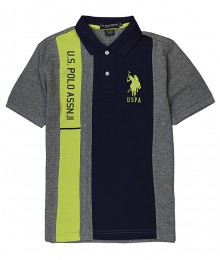 Uspa Blue/Lemon/Grey Vertical Pique Polo Shirt