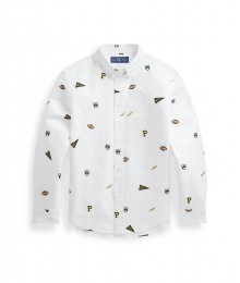 Polo Ralph Lauren White Logo Emblem Long Sleeve Shirt Big Boy