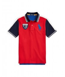 Polo Ralph Lauren Red Polo Emblem Wt White Shoulder Stripe And Blue Arms Big Pony Polo Big Boy