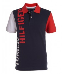 Tommy Hilfiger Navy Hilfiger Color Block Logo Shirt  Little Boy