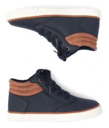Childrens Place Navy With Brown Trip High Top Sneakers.