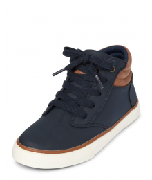 Childrens Place Navy With Brown Trip High Top Sneakers Shoes
