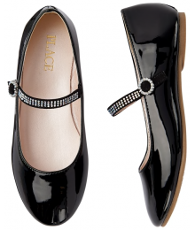 Childrens Place Black Glossy Patent Jewelled Ballet Flats