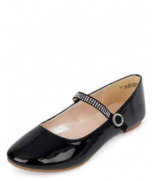 Childrens Place Black Glossy Patent Jewelled Ballet Flats Shoes