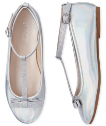 Childrens Place Silver Girls Metallic Glitter T Strap Ballet Flats