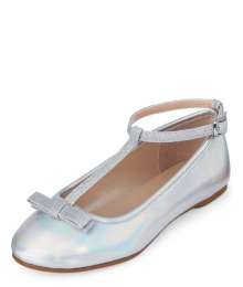 Childrens Place Silver Girls Metallic Glitter T Strap Ballet Flats Shoes
