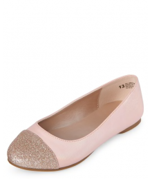 Childrens Place Pink Girls Glitter Toe Ballet Flats