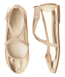 Childrens Place Gold Girls Glitter Cross Strap Ballet Flats Shoes