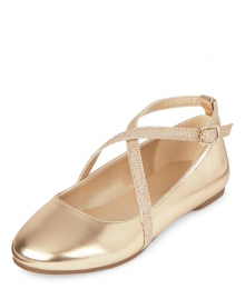 Childrens Place Gold Girls Glitter Cross Strap Ballet Flats