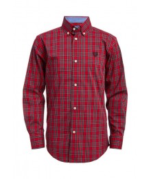 Chaps Red Plaid Button Down L/S Shirt Big Boy