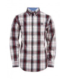 Chaps Ivory White Background Plaid Brown/Red L/S Shirt  Big Boy