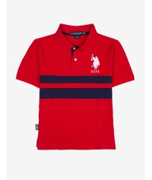 Uspa Red Boys Chest Stripe Polo Shirt