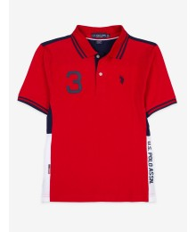 Uspa Red With Blue And White Uspolo Assn Side Stripe Polo Shirt Big Boy