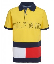 Tommy Hilfiger Yellow Tommy Flag (Blue/Red/White) Color Blocked Logo Polo Shirt