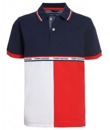 Tommy Hilfiger Blue/White/Red Color Block Tape Stretch Polo Shirt