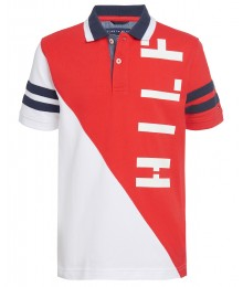 Tommy Hilfiger White/Reddish Orange Colorblock Logo Polo Shirt Big Boy