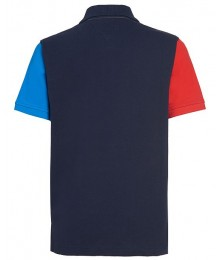 Tommy Hilfiger Yellow/Green/White/Red Color Block Logo Polo Shirt