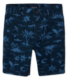 Childrens Place Navy Palm/Parrot Inscriped Shorts