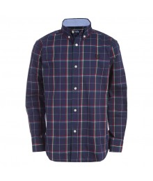 Chaps Navy L/S Plaid Woven Shirt Big Boy