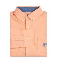 Chaps Peach Long Sleeve Stretch Shirt Big Boy