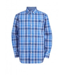 Chaps Navy Plaid Long Sleeve Stretch Shirt