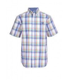 Chaps White Background Multi Plaid Short Sleeve Stretch Shirt Big Boy