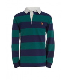 Chaps Green/Blue Striped Long Sleeve Rugby Shirt
