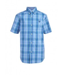 Chaps Blue/Green/Light Blue Plaid Short Sleeve Stretch Shirt Big Boy