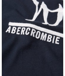 Abercrombie Black With White Reindeer Embroidered Logo Tee