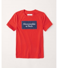 Abercrombie Red Embroidered Logo Tee