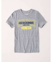 Abercrombie Grey With Yellow Print Logo Tee Big Boy