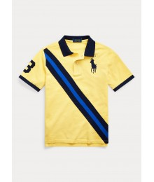 Polo Ralph Lauren Yellow With Blue Diagonal Stripe Polo Shirt