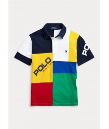 Polo Ralph Lauren Blue/White/Yellow/Green/Red Patchwork Polo Shirt