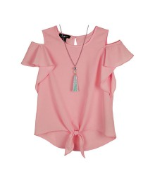 Amy Byer Pink Short Sleeve Tie Front Blouse With Necklace