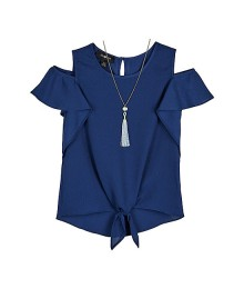 Amy Byer Navy Short Sleeve Tie Front Blouse With Necklace