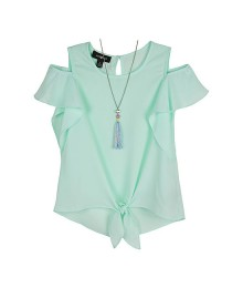 Amy Byer Light Green Short Sleeve Tie Front Blouse With Necklace