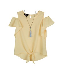 Amy Byer Yellow Short Sleeve Tie Front Blouse With Necklace