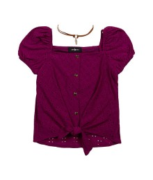 By & By Wine Square Neck Short Sleeve Blouse With Necklace