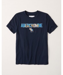 PRE-ORDER ONLY - Available 31ST March 2021 - Abercrombie Navy Blue Graphic  Logo Tee