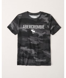 PRE-ORDER ONLY - Available 31ST March 2021 - Abercrombie Black Camo Embroidered Logo Tee